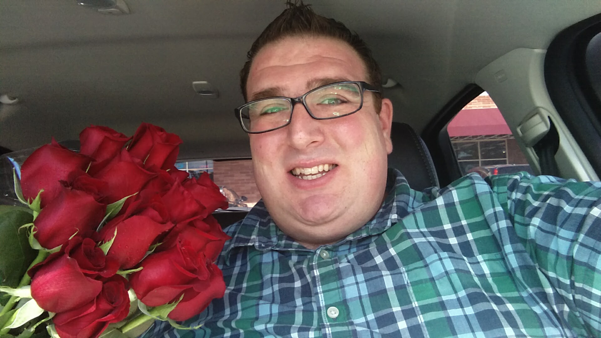 Getting roses from the local florist.